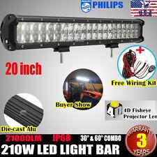 "20INCH 210W PHILIPS LED LIGHT BAR SPOT&FLOOD OFFROAD 4X4WD TRUCK +WIRING KIT 24"""