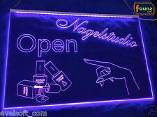 "LED Illuminated Sign ""Nail Studio Open"" Purple Opaque Service Business Logo © faunz"