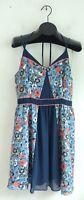 NEW LAUREN CONRAD Womens Blue Orange & White Floral Flower Summer Dress Size 14