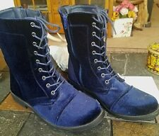 Blue Velvet Military-Style, Side-zip, Lace-up Calf Boots - Gina Group - Sz 11