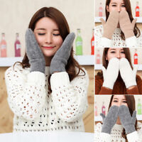 Color Warm Winte Rabbit Hair Mittens Double Layer Winter Gloves All Fingers