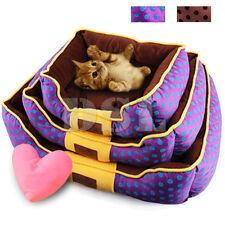 M Brown Lujo Suave Tela Lavable Perro Gato Mascota Cama caliente de la cesta Forro Polar