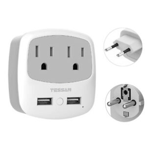 US to European German French Spain Travel Power Adapter with 2 USB 2 Outlets
