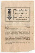 1913 WHITEFIELD NEW HAMSPHIRE Memorial Day Program NH Almon White MILITARY Vets
