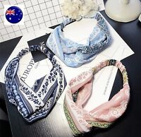 Women Retro Vintage look Boho bohemian floral Cross scarf Hair head band bandana