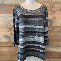 New~$48~RUBY ROAD WOMAN 2X Plus Gray & Black-Dots & Stripes 3/4-Sleeve Top Shirt