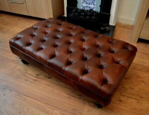 Chesterfield Style Deep Button  Footstool  Premium Chestnut Faux Leather