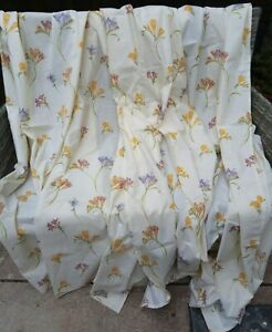 "Vintage 1970s Pair of CURTAINS Floral Ditsy Crocus Cottagecore Unused 64""W x 72"""