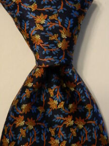 BRIONI Men's 100% Silk Necktie ITALY Luxury FLORAL Blue/Orange/Gold PERFECT