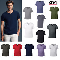 Anvil V-Neck Fashion Basic Tee 982 -Men Plain Cotton Casual Semi Fit T-shirt Top