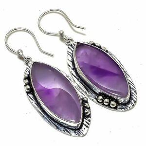 "African Amethyst Gemstone Handmade Ethnic Silver Jewelry Earring 2.1"" ERJ2776"