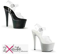 "PLEASER SKY 308MG STILETTO CLEAR 7"" HEEL PLATFORM POLE DANCING GLITTER SIZES 3-8"