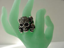 Skull Ring one size stretchy Rhinestone silver color antique Fashion jewellery