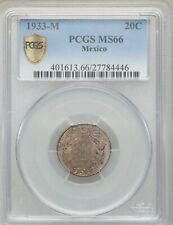 MEXICO ESTADOS UNIDOS 1933  20 CENTAVOS COIN CERTIFIED UNCIRCULATED PCGS MS-66