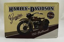 Superb Embossed Harley Davidson '750 Flathead' Tin Plate Wall Sign 20cm x 30cm