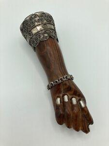 "Vintage Brazilian Wooden Figa Fist Pendant, Prata 900 Silver Plate, 5 1/2"" Long"