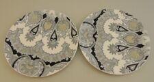 "Pottery Barn 8"" Ceramic Graphic Salad/Dessert Plate Lot Black/White"