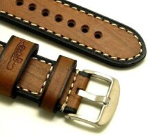 24mm Brown Quality Wood Grain Leather Men's Watch Strap Stainless Buckle