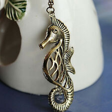 Retro Sea Horse Bronze Pendant Necklace Sweater Chain Women Lady Girl Gift