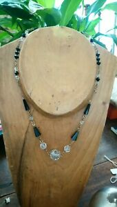 Antique Art Deco Black And Clear Glass Bead Linked Chain Necklace