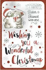 SISTER AND FIANCE Quality Christmas Card Cute Bears and Gift Design
