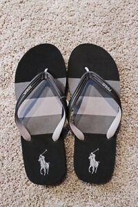 Men's Ralph Lauren POLO Whitlebury Flip Flop~ Gray And Black~ NWT
