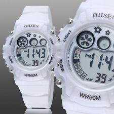 Ohsen Teen Kid Digital G Sport 12/24 Hour Alarm Quartz Watch Proof Shock White