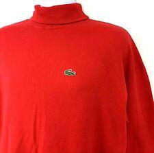 Vintage IZOD Lacoste Mens Turtleneck Long Sleeve Shirt Red Croc Crest Cotton L