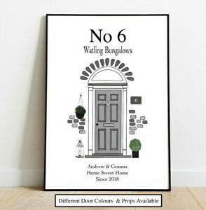 Personalised Front Door New Home Sweet Home Picture Wall/ Word Art Keepsake Gift