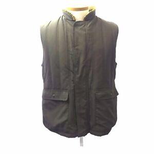 Orvis Sporting Men's Padded Khaki Green Polyester Vest Plaid Lining Pockets L