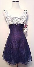 Vintage Zum Zum Party Dress Taffeta Blue Lace Prom Tooling NWT! Sz 3/4