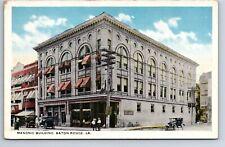 Postcard Masonic Building Baton Rouge Louisiana Early Automobiles