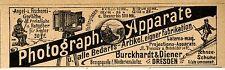 Burckhardt & Diener Dresden Photograph. Apparate  Historische Reklame von 1899
