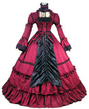 Victorian Women Gothic Punk Full Dress Vintage Reenactment Ball Gown Dress