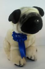 FAO Schwarz Pug 10 inch Plush Stuffed Dog Blue Ribbon Brass Button Tan Black