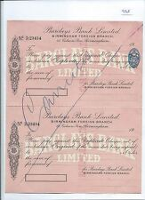 wbc. - CHEQUE - CH935 - UNUSED -1938 - BARCLAYS, BIRMINGHAM - BANK DRAFT+ c/f
