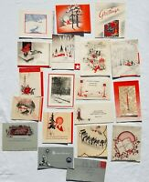 1930s Lot Vintage GRAY and RED CHRISTMAS CARDS 1920s Art Deco Mid Century Card