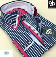 New Mens Smart Stripe Blue, Pink, Italian Design Slim Fit Double Collar Shirt