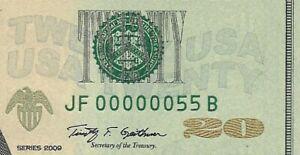 2009 $20 ATLANTA FRN, PMG GEM UNCIRCULATED 66 EPQ BANKNOTE, 2 DIGIT SERIAL 55