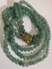 Vintage Jade Jadeite Bead Goldplated Necklace Triple Strand