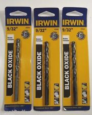 "Irwin 9/32"" Black Oxide Fractional Drill Bit   585-67518  LOT OF 3"