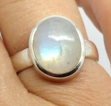 Rainbow Moonstone solid Sterling Silver ring, UK size R, Oval, New, UK.