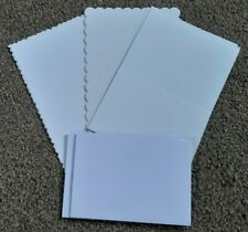 CREATE & CRAFT 8 x A6 WHITE BLANK CARDS Fancy Edged + Plain + Envelopes
