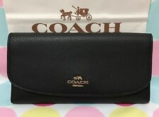 New Coach Pebbled Leather Trifold Wallet in Black (NO CHECKBOOK HOLDER)