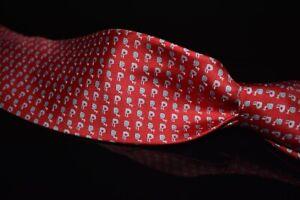 NWT Salvatore Ferragamo Made in Italy 100% Silk Tie Cherry Red Snail Nautilus #2