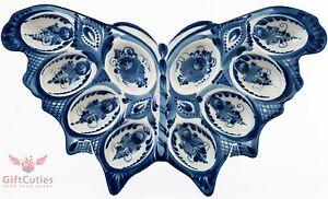 Porcelain Gzhel Egg Holder Plate Platter Easter Egg Display butterfly handmade