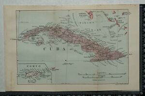 1914 Vintage Stanford Map 0f Cuba and Porto Rico