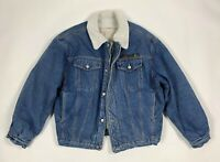 Trentatre 33 giubbotto sherpa giacca jeans L vintage pile imbottito usato T6186