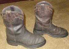 Mens ARIAT Workhog Pull On H2O Brown Leather Work Boots sz 8.5 EE