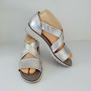 'GABOR' EC SIZE '7' (4) SILVER LEATHER PEEP TOE SIDE GUSSET SHOES RRP $229